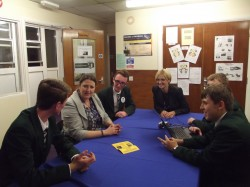 Students try their hands at 'The Apprentice' - Adam Upex, Matt Cowley, Michael Jarvis, Sam Southam, Tasil Luchooman, Mrs Mitchell and Miss Davies