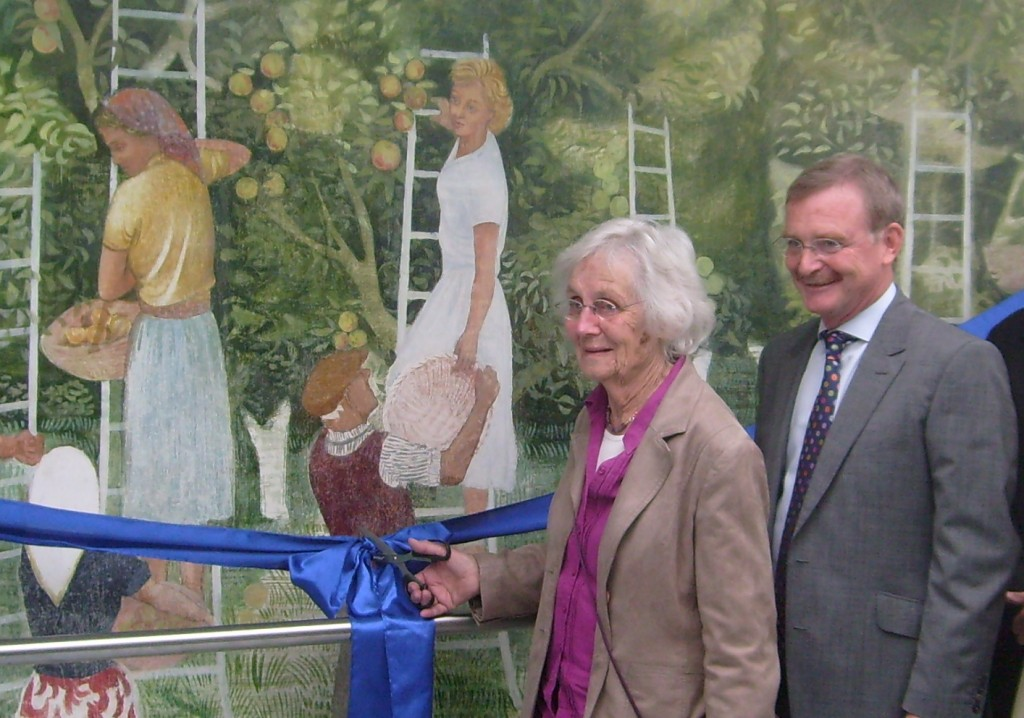 Judy Millett (Fred's widow) opens the 'Summer' mural on September 8th