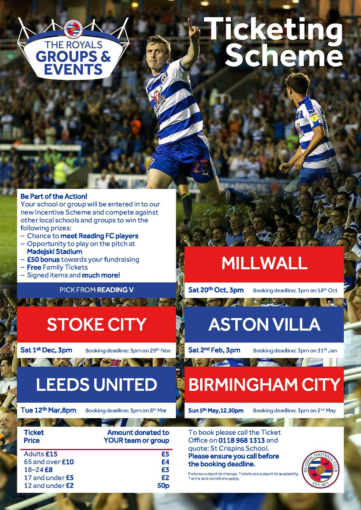 Reading FC Tickets - St Crispin's - Excellence for allSt